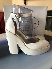 👑NEW Steve Madden Leather Platform Pumps, White, Size: 7.5 Heels