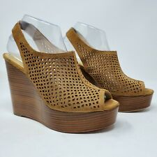 "Coach Tan ""Chasity"" Perforated Mesh Slingback Wedge Platform Heels, Size 8"