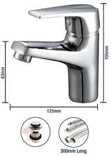 Single Lever Basin Tap Round Mixer Chrome Mono Bloc Bathroom Cloakroom + Waste