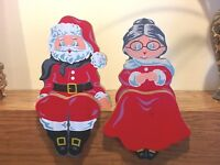 Wooden Hand Painted Mr Mrs Santa Clause Shelf Sitters Mantle Sexton Christmas