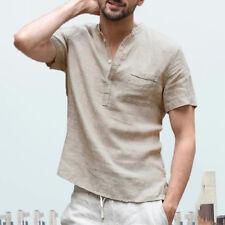 Mens Casual Shirts Bottons Summer Short Sleeve Retro Shirt T Shirts Tops Tee