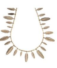 House Harlow 1960 Gold Plate Feather Collar Necklace Jewelry Retail $194 New