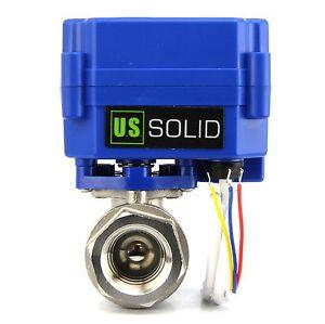 "U.S. Solid 1/2"" Electric Motorized Ball Valve 9V 12V to 24 V, 3 wire, SS304"