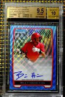 BILLY HAMILTON 2012 BOWMAN CHROME AUTOGRAPH  'BLUE WAVE' REFRACTOR  BGS 9.5 / 10