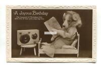 Dog listening to vintage radio & reading newspaper - 1930 used postcard