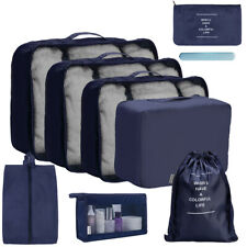 8Pcs Blue Travel Storage Bag Set Clothes Luggage Packing Cube Organizer Suitcase