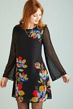 Yumi Clothing - Geometric Black Floral Tunic Dress Uk 24