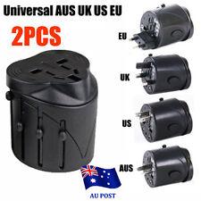 2x Europe AUS UK US International Universal Travel Adapter Plug AC / USB Power B