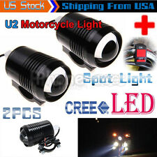 2PCS CREE 30W LED Motorcycle Spot Light Headlight Work Driving Fog Lamp + Switch