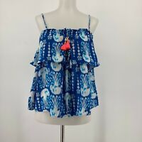 Lilly Pulitzer Mays Top Blouse Cropped Tank Blouse Tassel Tie Neck Size Medium