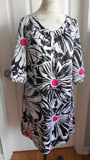 NWOT SOFT SILKY WHITE/BLACK PRINT CHICO NIGHTGOWN LOUNGE DRESS CHICO SIZE 1 8-10