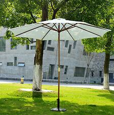 Sonnenschirm Holzschirm Gartenschirm Balkonschirm ?3mx 2,5m weiß Marktschirm