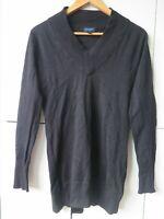 WITCHERY Sz L Black Longline Knit Top / Jumper VGC