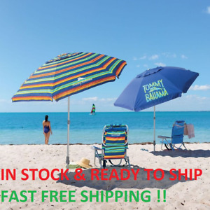 TOMMY Bahama 8' Beach Umbrella w/ Tilt Multi-Color or Blue Brand New 2020