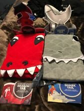"Warm Plush & Playful Dragon & Shark Tail Fleece Throw Lot New 22.5"" X 55"" Set"