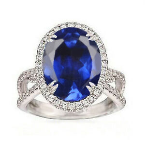 2.55Ct AA Natural Tanzania Tanzanite With White Accents Ring In 14KT White Gold