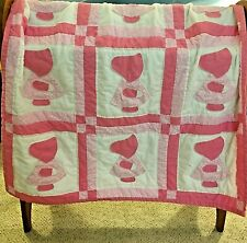 "Handmade Appliqued Pink and White Sunbonnet Sue Quilt  36"" x 48"""