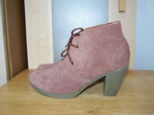 RIVER ISLAND Brown Leather Suede Womens Heeled Ankle Boots UK-5 EU-38