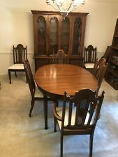 7 Piece Vintage Dining Room Furniture Set With 6 chairs, and China Cabinet