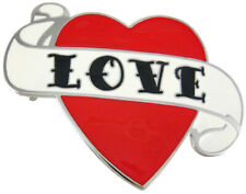 Heart Enamel Belt Buckle Zeckos Tattoo Style Love
