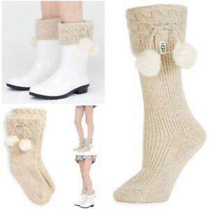 New Womens UGG Short Pom Pom Rainboot Boot Socks Cream Shoe Sz 9-11