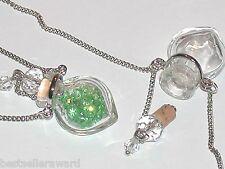 1pc Murano Glass BLACK perfume Heart bottle cork pendant vial locket Necklace *