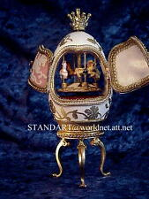 """Easter White &Pink Musical Carousel Egg """"Somewhere in Time"""" & a Faberge Necklace"""