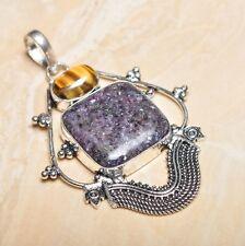 "Handmade Purple Lepidolite Gemstone 925 Sterling Silver 3"" Pendant #P15614"