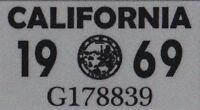 US USA California Kennzeichen License Plate Number Plate Jahres Aufkleber 1969