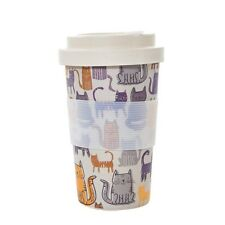 FUNKY CAT bamboo coffee mug with screw lid by ECO CHIC 6 mth guarantee