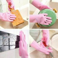 Magic Dish Washing Gloves Silicone Rubber Scrubber Kitchen Cleaning Brush Gloves