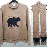 Cotton Country Parkhurst Bear Sweater & Scarf Set - Chunky Knit Women Sz LG