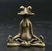 55MMChina Fengshui Bronze Sit In Meditation Frog Pond Frog Amulet Pendant Statue
