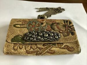 Antique Japanese Tobacco Purse Leather Tooled Mixed Metals Unusual