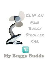 Clip On Universal Buggy Pram Stroller Fan Battery. Fan Grey. My Buggy Buggy