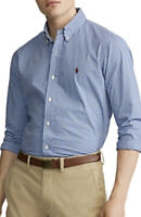 polo ralph lauren slim fit gingham poplin shirt In Royal / Blue