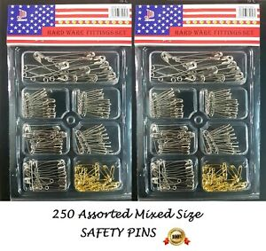 Assorted SAFETY PINS 250 pcs mix size for art craft scarf shawl hair dressing