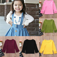 Lovely Toddler Kids Baby Girls Long Sleeve Ruffles Candy Color T Shirts Clothes
