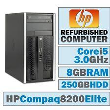 LOT OF 5 HP Compaq 8200 Elite MT/Core i5-2400 @ 3.1 GHz/8G/250GB/DVD-RW/No OS