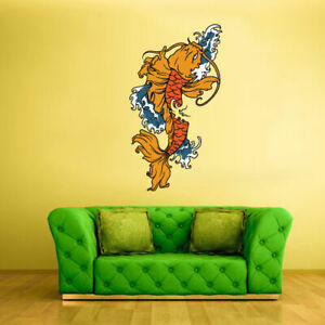 Full Color Wall Decal Sticker Koi Fish Ethnic marine nautical decor art Col227