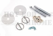 Universal Flip Over Style  Hood Pin Kit Chrome Steel Chevy Ford Mopar