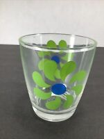 Vintage Sour Cream Glass Green & Blue Daisy Flowers 1/2 Pint #950~ 8oz