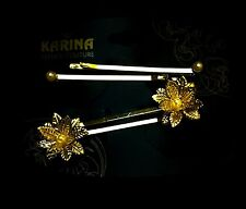 NEW! Women's Karina Hairpin Hair Clip 3D Golden Flower w Pearl 2-set Couture