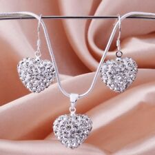 Elegant 925 Sterling Silver SF Heart Crystals Solid Necklace/Earrings Set SA474