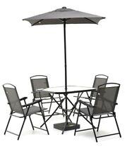 SET PLAYA Bistrot Antracite metallo colore grigio, tavolo, 4 sedie ed ombrellone