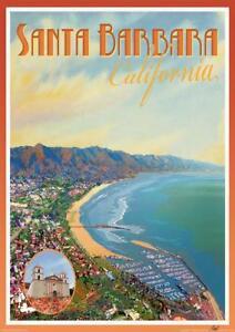Santa Barbara, CA- Vintage Art Deco Style Travel Poster-by Aurelio Grisanty
