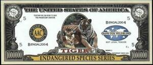 TIGER 🐯 One Million Note 🌎🐯 Fantasy Money 🐯🌎 Endangered Species Series