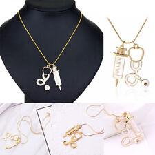 Women New Alloy Medical Stethoscope Syringe Charm Pendant Necklace Chain Gift