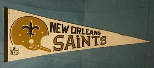 Vintage 1970's New Orleans Saints NFL Football Pennant Single Bar Helmet