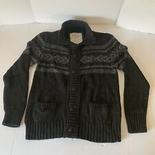 American Eagle Outfitters Black Aztec Button Down Sweater Cardigan Mens Size XL